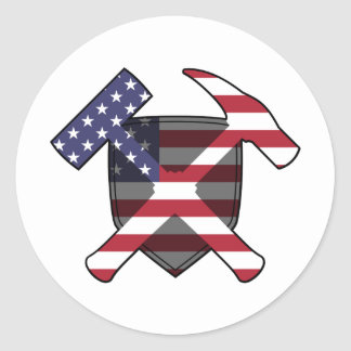 Geologists's Rock Hammer Shield- American Flag Classic Round Sticker