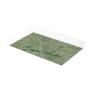 Geology Nature Photo Green Rock Texture any Text Serving Tray