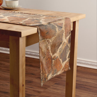 Geology Stone Wall Structure Photo Warm Golden Medium Table Runner