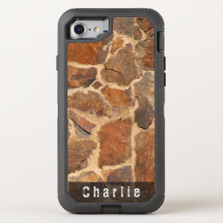 Geology Stone Wall Structure Warm Golden any Text OtterBox Defender iPhone 7 Case