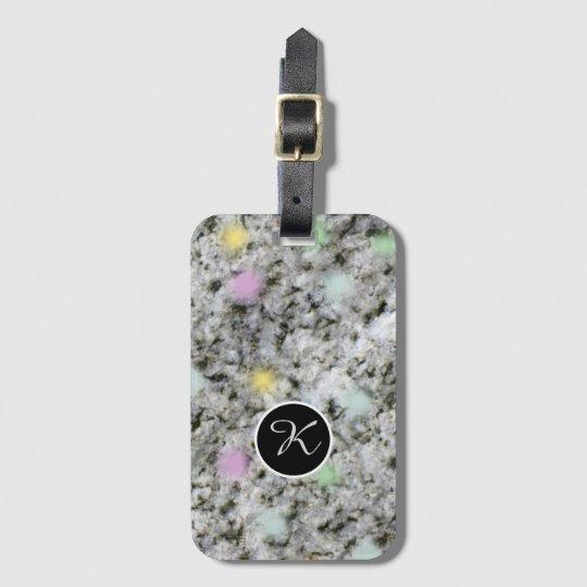 Geology Sweet Pastel Rock Texture Custom Monogram Luggage Tag