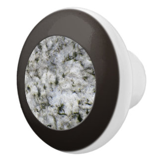 Geology White Granite Rock Texture Ceramic Knob