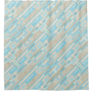 Geometic shapes blue brown shower curtain