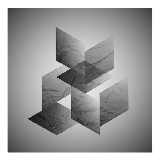 Geometric 01 black and white poster