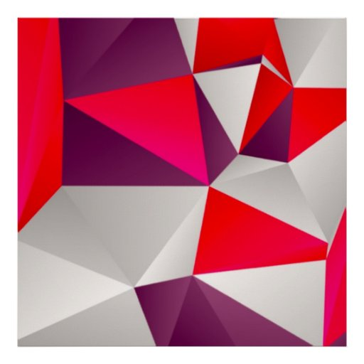 Geometric 02 red poster