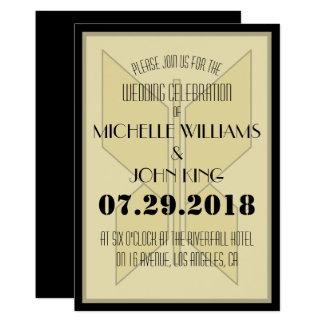 Geometric 20's Butterfly Wedding Invitation Card