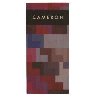 Geometric Abstract Art | Purple and Blue Tiles Wood USB Flash Drive