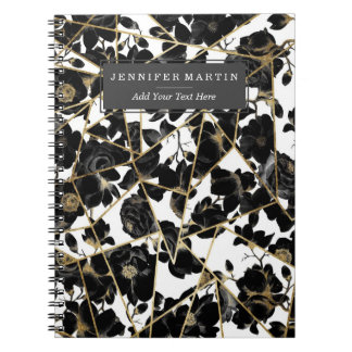 Geometric Abstract Black Floral Gold Triangles Notebooks