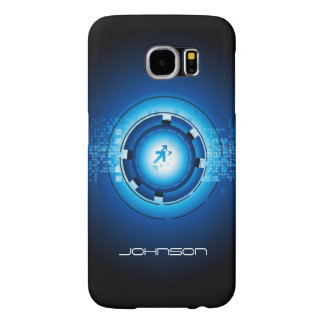 Geometric Abstract Blue Hi-Tech Pattern Samsung Galaxy S6 Cases