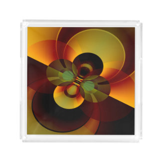 Geometric Abstract Circles Brown and Gold Acrylic Tray