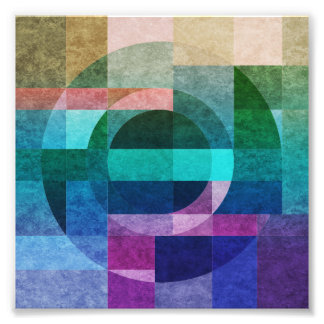 Geometric abstract colorful circle textured photo print