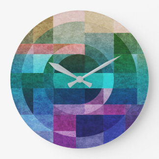 Geometric abstract colourful circle textured clock