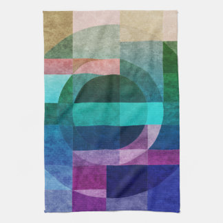 Geometric abstract colourful circle textured hand towel