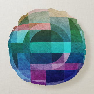 Geometric abstract colourful circle textured round pillow