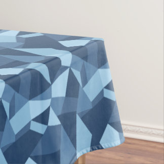 Geometric abstract crazy patchwork blue toned tablecloth