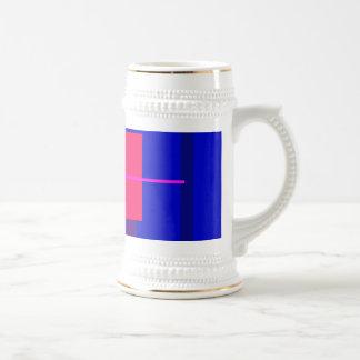 Geometric Abstract Design Deep Blue 18 Oz Beer Stein