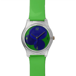 Geometric Abstract Ellipse Modern Green Blue Cool Watch