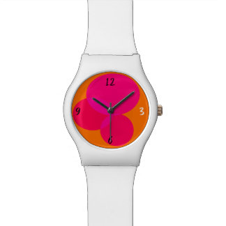Geometric Abstract Ellipse Modern Pink Orange Neon Watch
