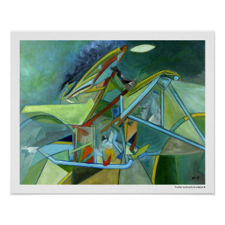 Geometric Abstract Green Futurist Biker Poster