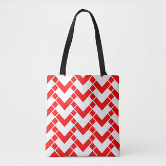 Geometric abstract - red and white. tote bag
