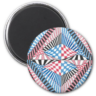 Geometric Abstract Red White Blue Bold Zen Design 2 Inch Round Magnet