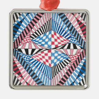Geometric Abstract Red White Blue Bold Zen Design Silver-Colored Square Ornament
