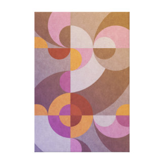 Geometric abstract retro circles in warm colors canvas print