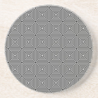 Geometric Abstract Squares in Black and White Coaster