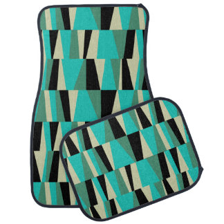 Geometric Abstract Triangles | jade peacock black Car Mat