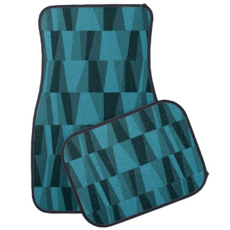 Geometric Abstract Triangles | med blue navy Car Floor Carpet