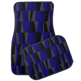 Geometric Abstract Triangles navy cobalt graphite Floor Mat