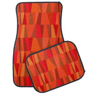 Geometric Abstract Triangles | orange red pumpkin Car Carpet