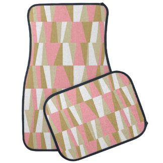 Geometric Abstract Triangles | pink white bronze Car Mat