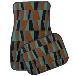 Geometric Abstract Triangles | teal chestnut grey Car Liners