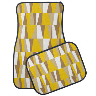 Geometric Abstract Triangles | yellow brown taupe Car Mat