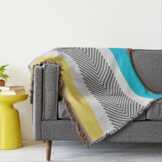 Geometric Abstract Yellow and Aqua Modern Pattern Throw Blanket