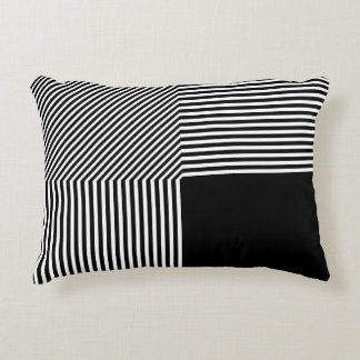 Geometric abstraction, black and white accent pillow