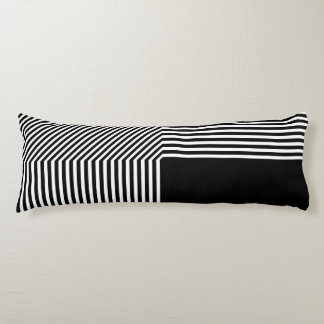 Geometric abstraction, black and white body pillow