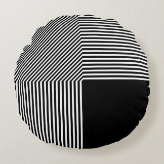 Geometric abstraction, black and white round pillow