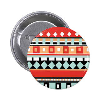 Geometric - Adobe, Turquoise & Brown 2 Inch Round Button