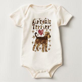 Geometric Airedale Terrier Baby Bodysuit