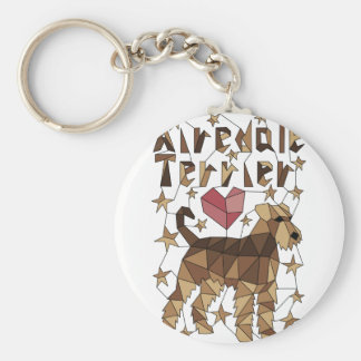 Geometric Airedale Terrier Keychain