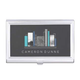 Geometric Architect Blue & Gray Business Card Holder