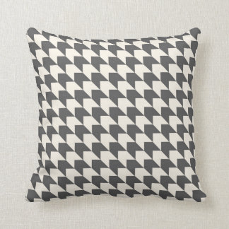 Geometric Arrow Pattern Charcoal Grey and Cream Throw Pillow