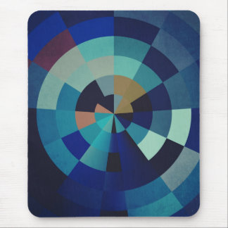 Geometric Art | Blue Circles, Arcs, and Triangles Mouse Pad