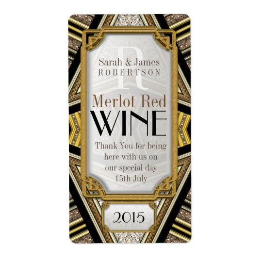 geometric+ArtDeco Wine Drink Bottle Labels