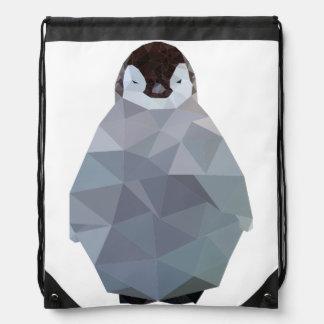 Geometric Baby Penguin Print Drawstring Bag