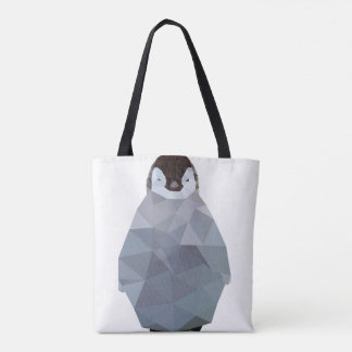 Geometric Baby Penguin Print Tote Bag