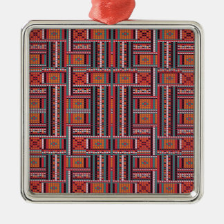 Geometric Bead Effect Pattern Ethnic Tribal Look Silver-Colored Square Ornament