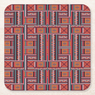 Geometric Bead Effect Pattern Ethnic Tribal Look Square Paper Coaster